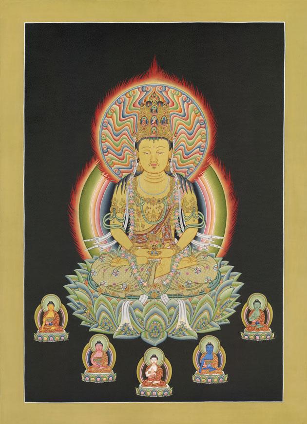 Золотой Махавайрочана с 5-ю Ати-Буддами
